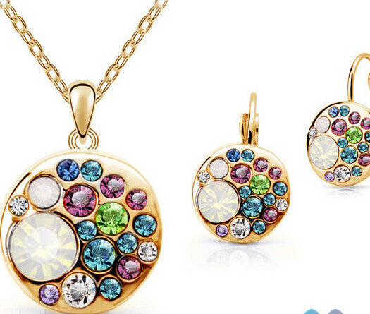 Vintage Set New 18K Gold Plated / Silver Simulated Diamond Korean Multicolor Round African Costume Crystal Jewelry Sets