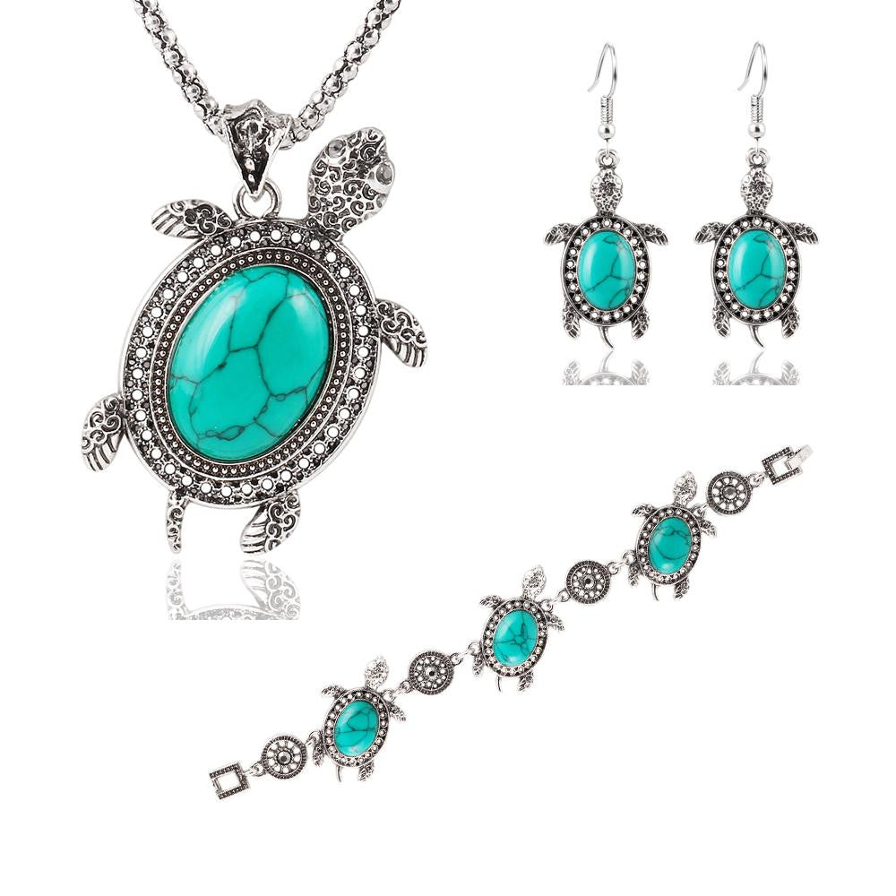 Vintage Silver Tone Animal Tortoise Jewelry Sets Turquoise Earrings Necklace Bracelet Fashion Women Little Turtle Accessories