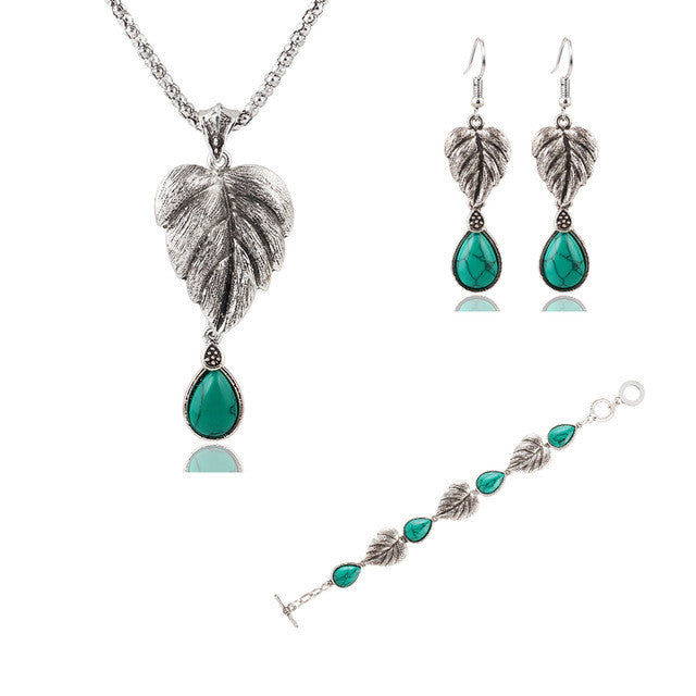 Vintage Silver Tone Leaf Jewelry Sets Heart Turquoise Earrings Necklace Bracelet Fashion Teardrop Shape For Women Accessories