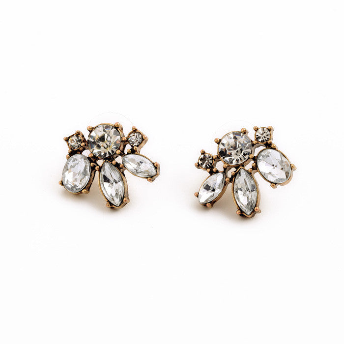 Vintage Style Small Resin Stone Stud Earrings Fashion Jewelry Women Retro Brincos