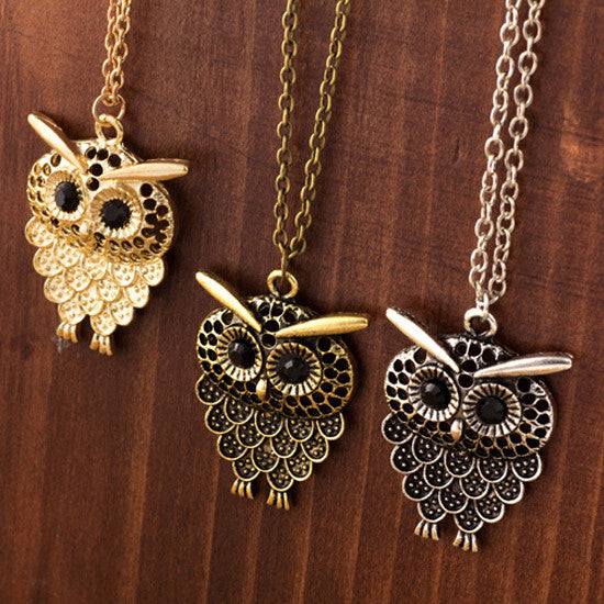Vintage Women Owl Pendant Necklace Long Sweater Chain Jewelry Golden Antique Silver Bronze Charm fashion necklaces