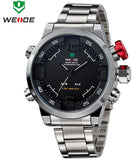 WEIDE Brand Military Watch Men Quartz 30m Waterproof LED Digital Full Stainless Steel Outdoor Sports Watches Dress Wristwatches