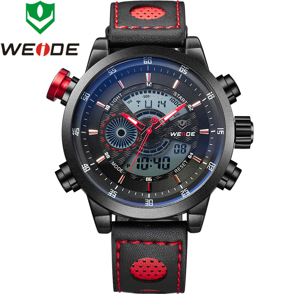 WEIDE Genuine Leather Watches Men Quartz Digital Fashion Military Casual Sports Watch Luxury Brand Relogio Outdoor Wristwatches