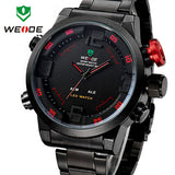 WEIDE Luxury Brand Men Sports Watches Full steel Army Military Watch LED Digital Analog 30m Waterproof Dive Quartz Wristwatches