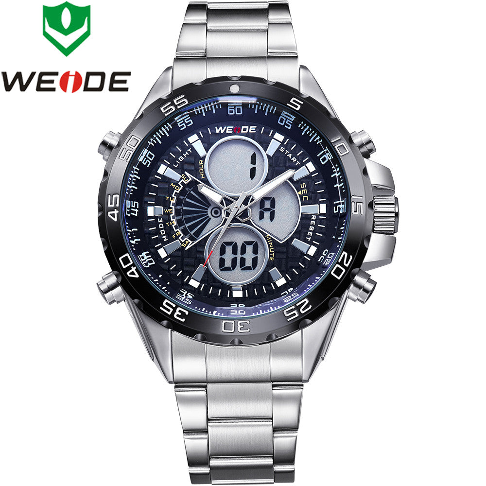 WEIDE Men's Military Sports Watches Luxury Brand Men Quartz Full Steel Diver Watch Analog Digital LCD Display