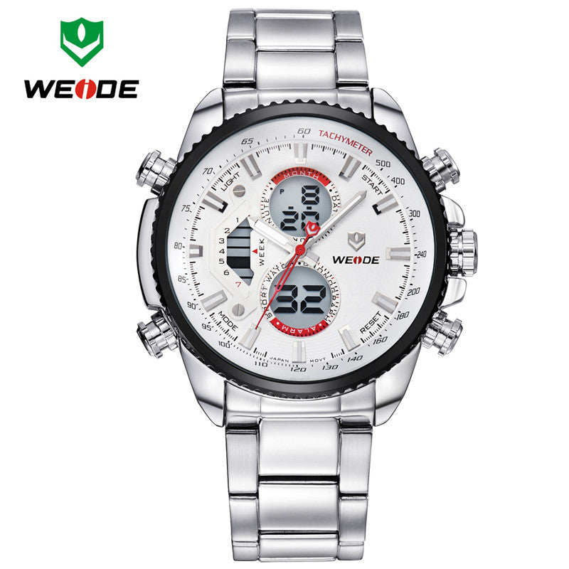 WEIDE Mens Watches Top Brand Luxury Fashion Quartz Analog Digital LCD Display Stainless Steel Multifunction Dive Casual Watch