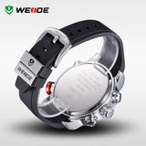 WEIDE Sports Multifunctional Watches Men Original Japan Quartz LCD Digital Movement Dual Time Zones Display High Quality PU Band