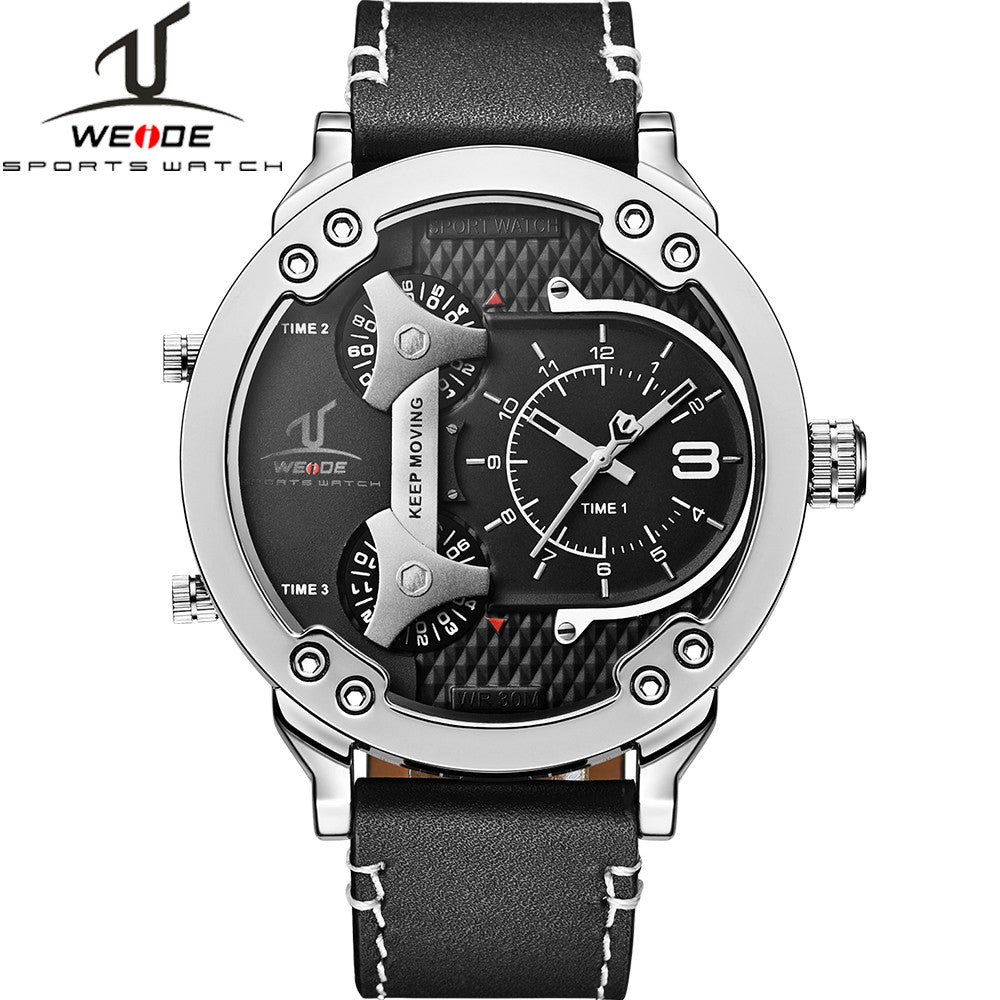 WEIDE Universe 3 Time Zones Watch Men Sport Water Resistant 3ATM Men's Quartz Movement Military Original Leather Strap Watches