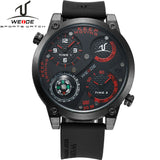 WEIDE Universe Military Watch With Compass Two Time Zone Analog Display 30 Meters Waterproof Silicone Strap New Products For Men