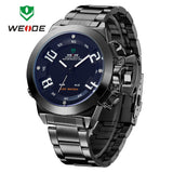 WEIDE Wristwatch Luxury Brand Men Sports Watch Quartz Digital LED Military Watches 30M Waterproof Full Stainless Steel Watch