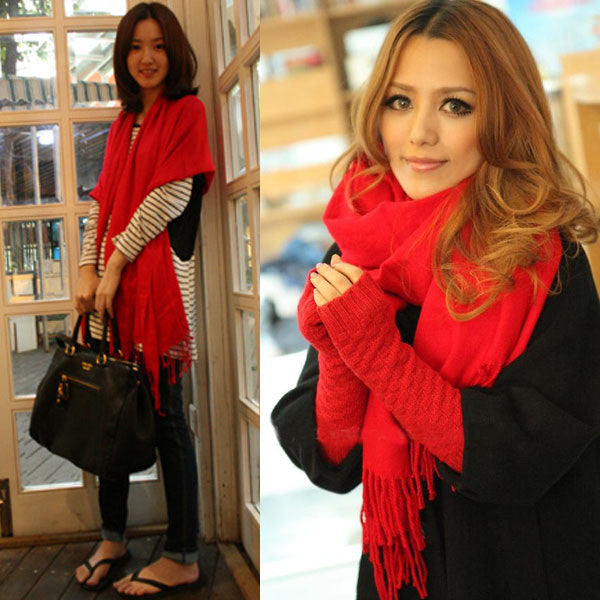 Warm Wool Blends Soft Multicolor Scarves Long Large Wrap Scarf Shawl Tassels
