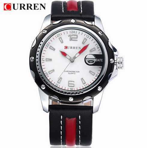 Waterproof CURREN 8104 Men Fashion Sports Quartz Watches Leather Strap Men Watch Military Wristwatches