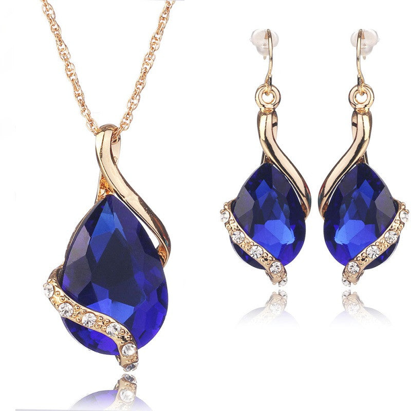 Wedding Bridal Dress Accessories Jewelry Sets For Women Water Drop Crystal Necklace Earrings Set Gold Plated Holiday Party