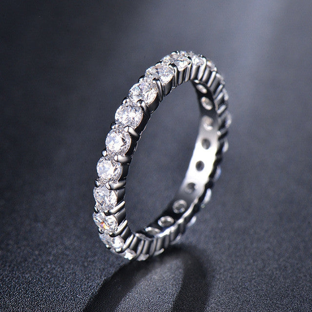 Wedding 3mm 0.1 Carat Round CZ White Gold Plated Simulated Diamond Eternity Ring Bands New Jewelry for Women
