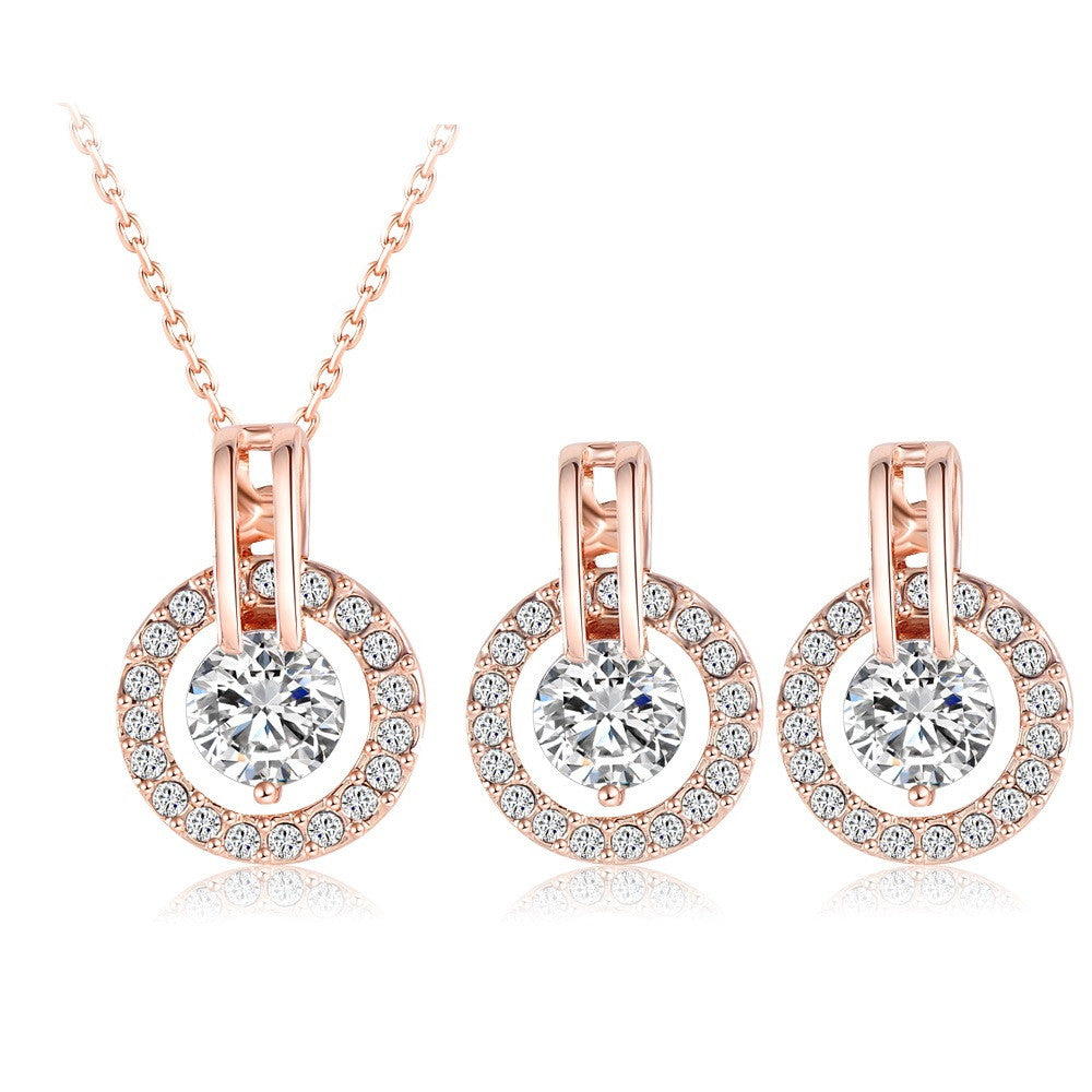 Wedding Jewelry Sets Rose Gold Plated Necklace/Earring Bijouterie Sets for Women