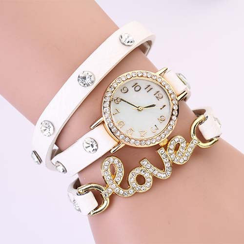 New Arrivals women vintage leather strap watches,set auger LOVE rivet bracelet women dress watches,women wristwatches