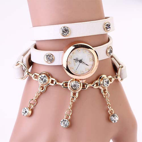 New Arrivals Women Leather Strap Watches Set Auger Rivet Bracelet Women Dress Watches Wristwatches Luxury Hand Wind Drill