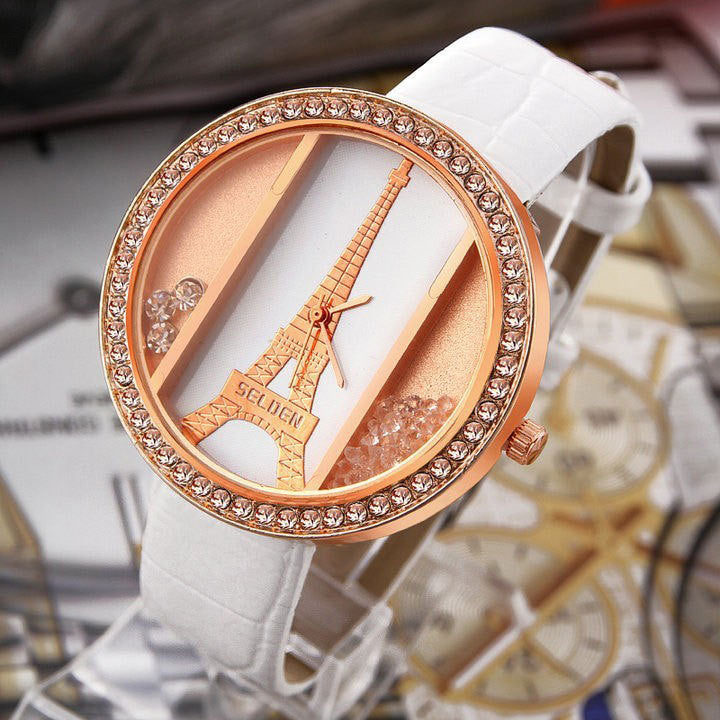 Eiffel tower ladies quartz Watch alloy rose gold dial PU strap Women's dress watch rhinestone watches quicksand wristwatches