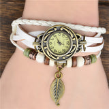 New Arrivals Genuine Leather Hand Knit Vintage Watches,bracelet Wristwatches Leaf Pendant
