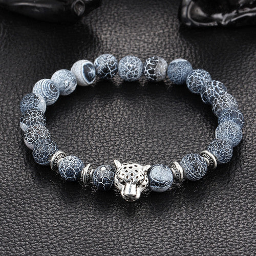 Antique Silver Plated Buddha Leopard head Bracelet Lava Natural Stone Beaded Bracelets For Men Women Pulseras Hombre