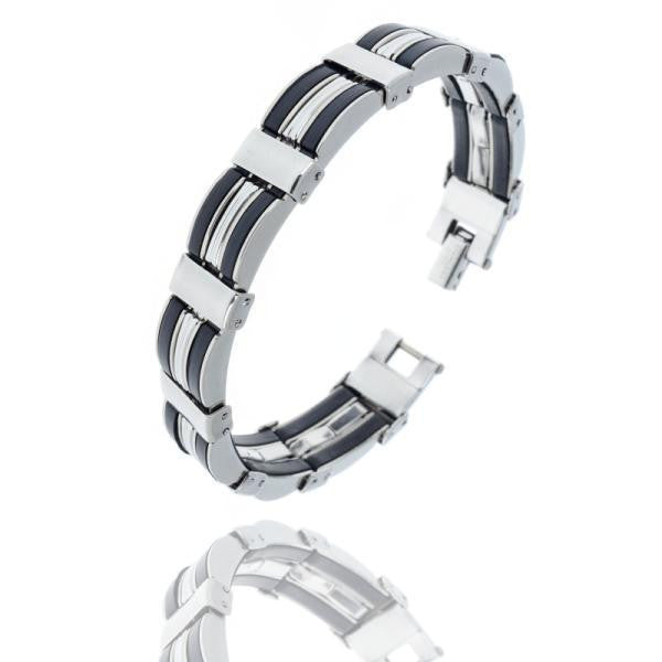 HOT Sale New Fashion Jewelry Black Silicone Mix Stainless Steel Personality Men Bracelet Male Bangles