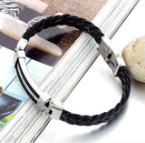 Wide Weave Chain Bracelet Men Jewelry 19.5cm 304 Stainless Steel Men Leather Bracelet