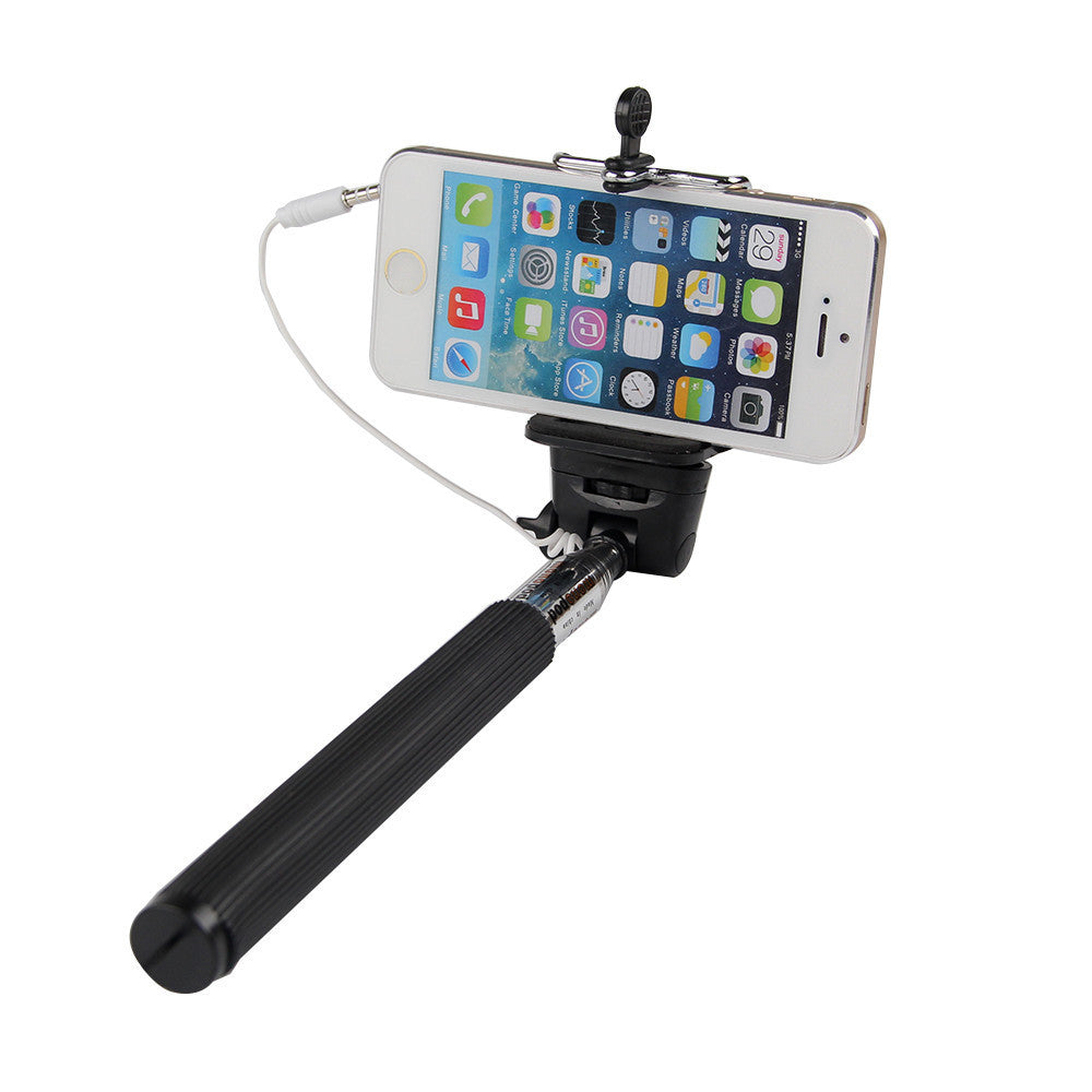 Wired Selfie Sticks Handheld Monopod Built-in Shutter Extendable +Mount Holder Photo For iPhone Samsung Smartphone Phones Camera