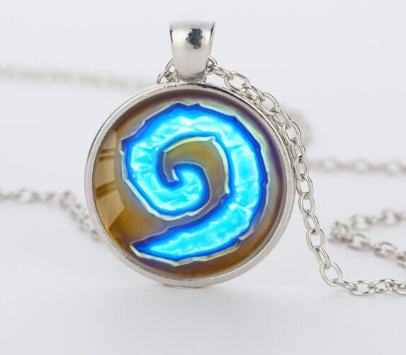 WoW World of Warcraft Hearthstone Glass Round Pendant Charm Necklace Jewelry Chain Blue Pendants men Jewelry women gift