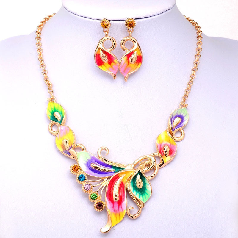 Women Austrian Crystal Enamel Jewelry Sets 18k Yellow Gold Plated flower 4 Colors Jewelry Sets Chain Necklace Earrings sets