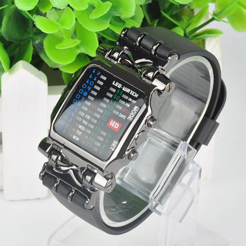 Women Fashion Jewelry Watches Unisex Square Binary Digital Watch Crab 31 Colorful LED Men's Watch