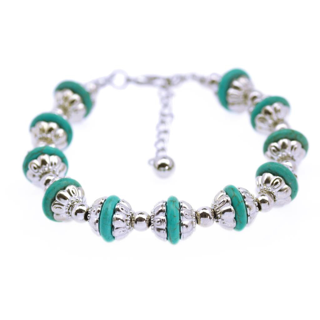 Women Fashion jewelry Tibetan Silver Color Bracelets Bangles Turquoise Inlay Roundness Bead Friendship Bracelets Summer Style