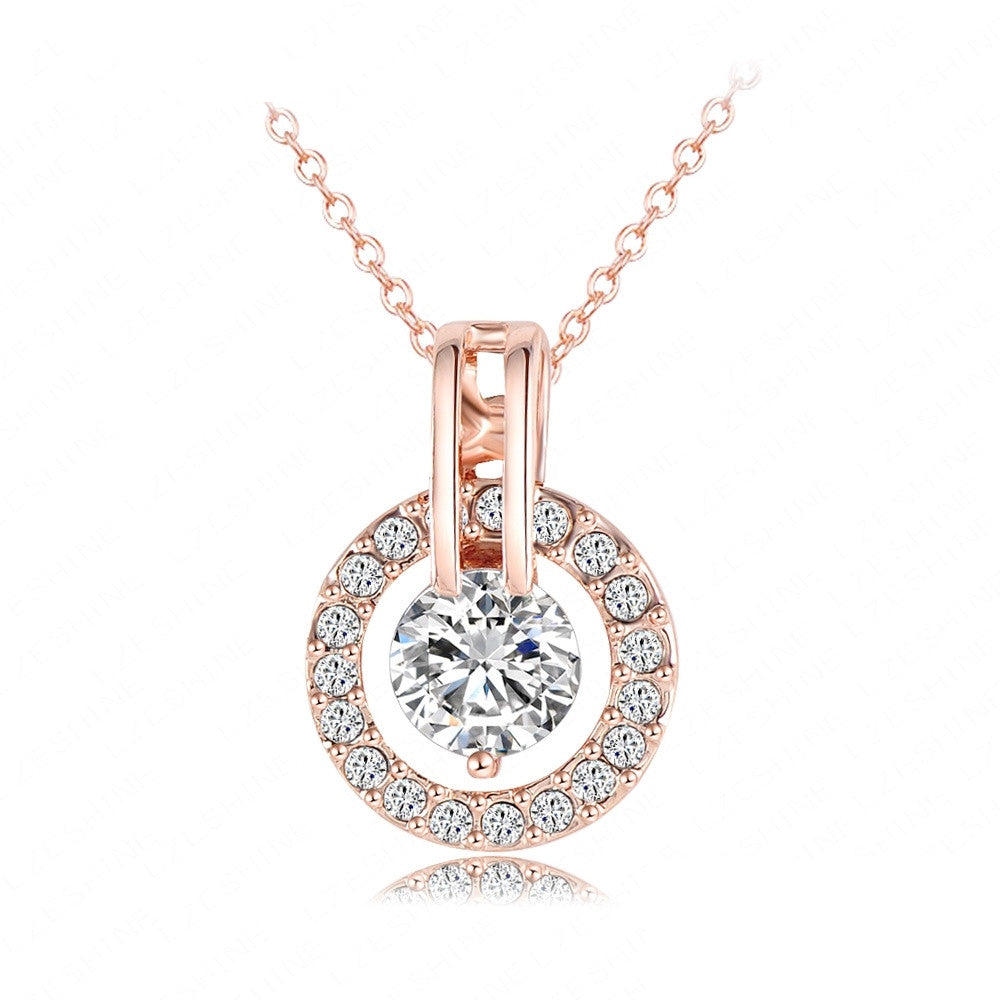 Women Jewelry Classic Necklace Trendy Rose Gold Plated Genuine Austrian Crystal Round Pendant Necklace