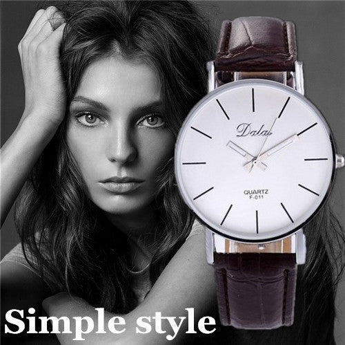 Women Watch Fashion Dalas Brand Quartz Leather Strap Clock Wristwatch Relojes Feminino Vintage Simple Design Casual Major Watch