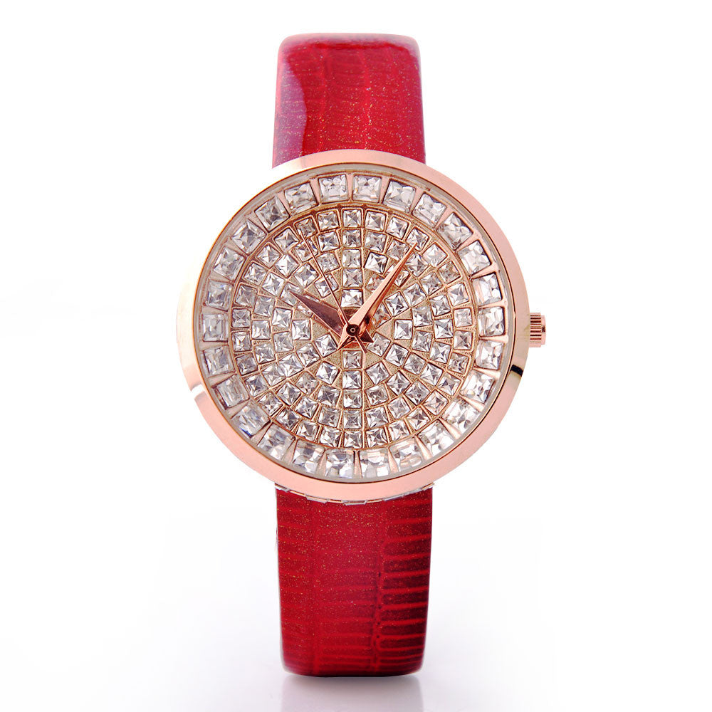 Women Watch Luxury Brand GUOU Genuine Leather Strap Full Crystal Diamond Bling Analog Quartz Ladies Wristwatch Mujer Relojes