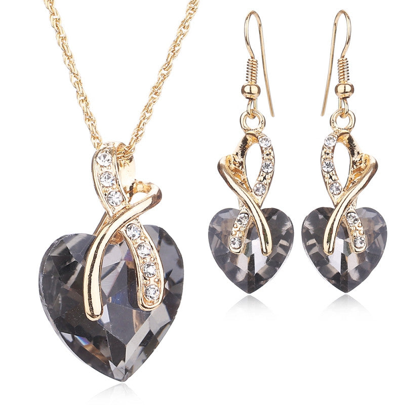 Women Wedding Accessories African Beads Jewelry Set Costume 18K Gold Plated nigerian Sapphire Crystal Love Necklace Earring Sets