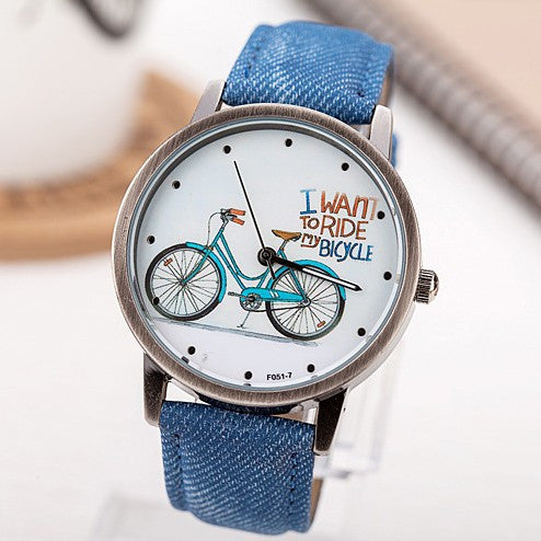 Women Wristwatch New Fashion Casual Watches Cute Cartoon Bike Geniune Leather Dress Watches Women Quartz Watch