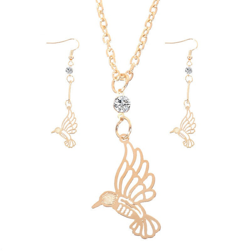 Women's 18K Gold Plated Jewelry Sets Bird Shape Girls Wedding Party Neckalces Austrian Crystal Earings Jewelry Set