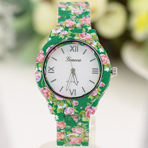 Women's Geneva Floral Print Ceramic Style Analog Quartz Wrist Watch