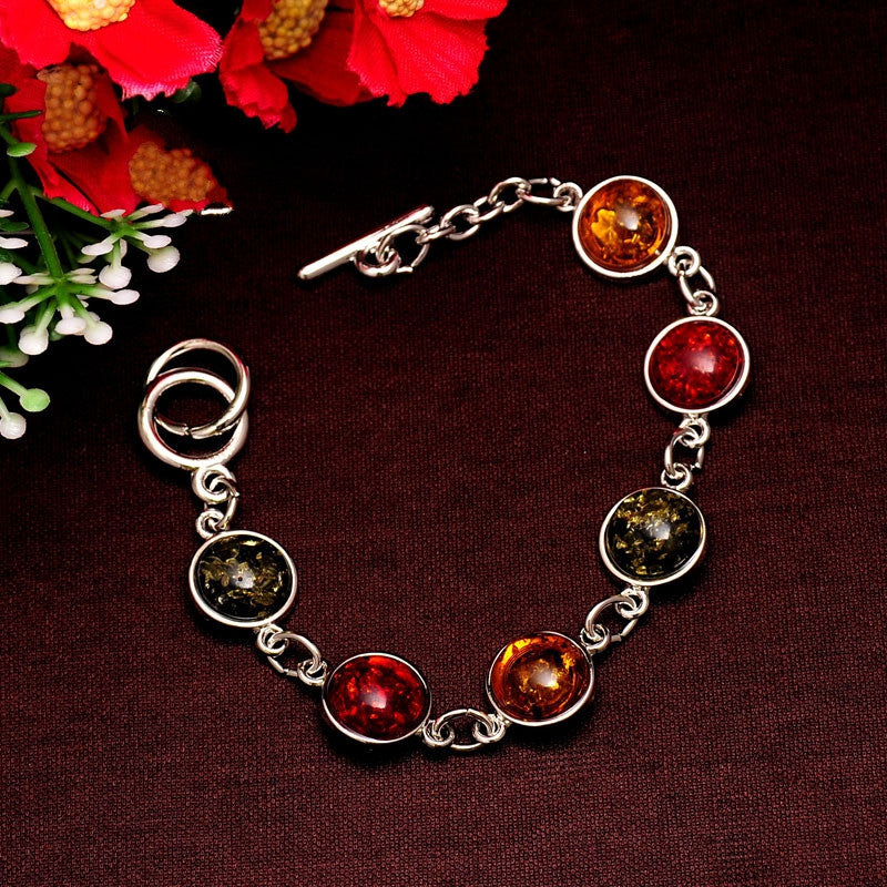 Women/Lady's Vintage Retro Silver Plated Bohemia Colorful amber Gem Round Bracelets & Bangles Jewelry