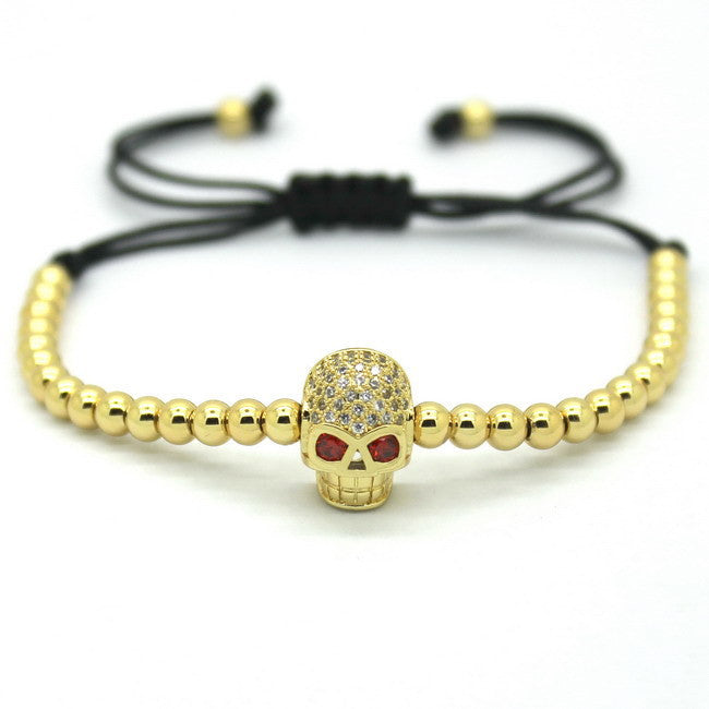 Women Bracelets,Micro Pave 18kt Rose Gold CZ Balls Evil Eye & 4mm Round Beads Braiding Macrame Bracelet For Men and Women