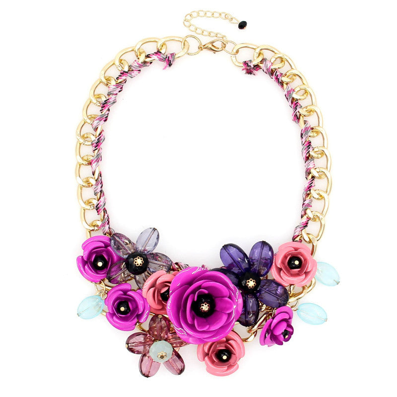 Women Charm Metal Flower Necklace Fashion Gold Chain Multicolor Beads Collar Chokers Maxi Necklaces & Pendant Statement Jewelry