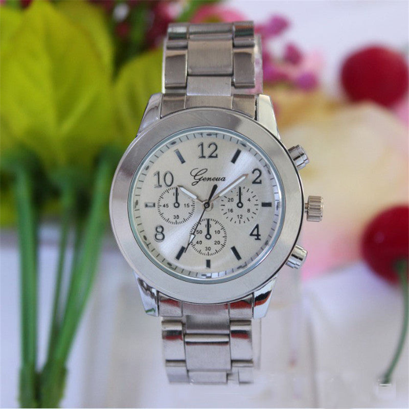 Women Dress Watches Geneva Stainless Steel wristwatch women Watch Luxury Casual Relogio Men Quartz watch