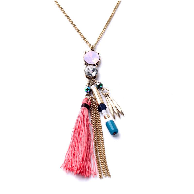 Women Fashion Jewelry Long All Mathc Tassel Bohemian Necklace