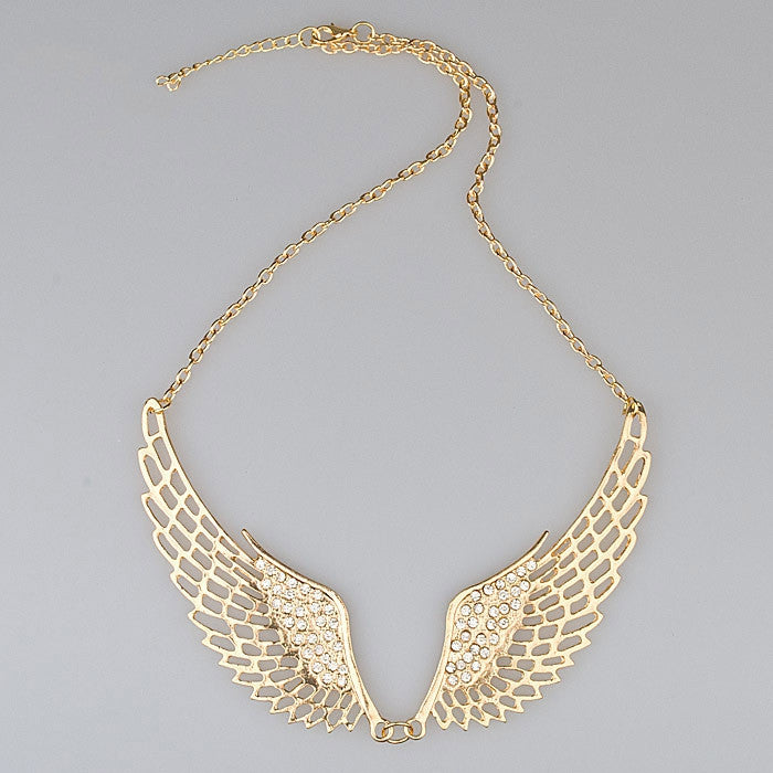 Women Fashion Rhinestone Jewelry Angel Wings Gold Color Choker Necklace