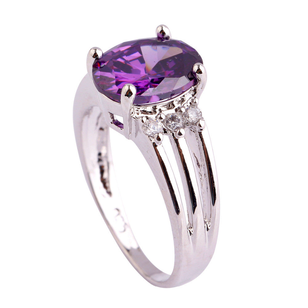 Women Jewelry New Fashion Handsome Oval Cut Amethyst & White Sapphire Silver Ring