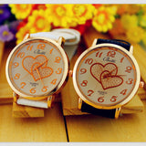 Women Numerals Faux Leather Band Analog Quartz Wrist Watch New Romantic Double Heart Fashion Watches