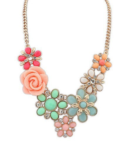 Women Statement Necklace Link Chain Necklaces Fashion Collar Choker Necklace Flower Pendant Jewelry Trends For Gift Party