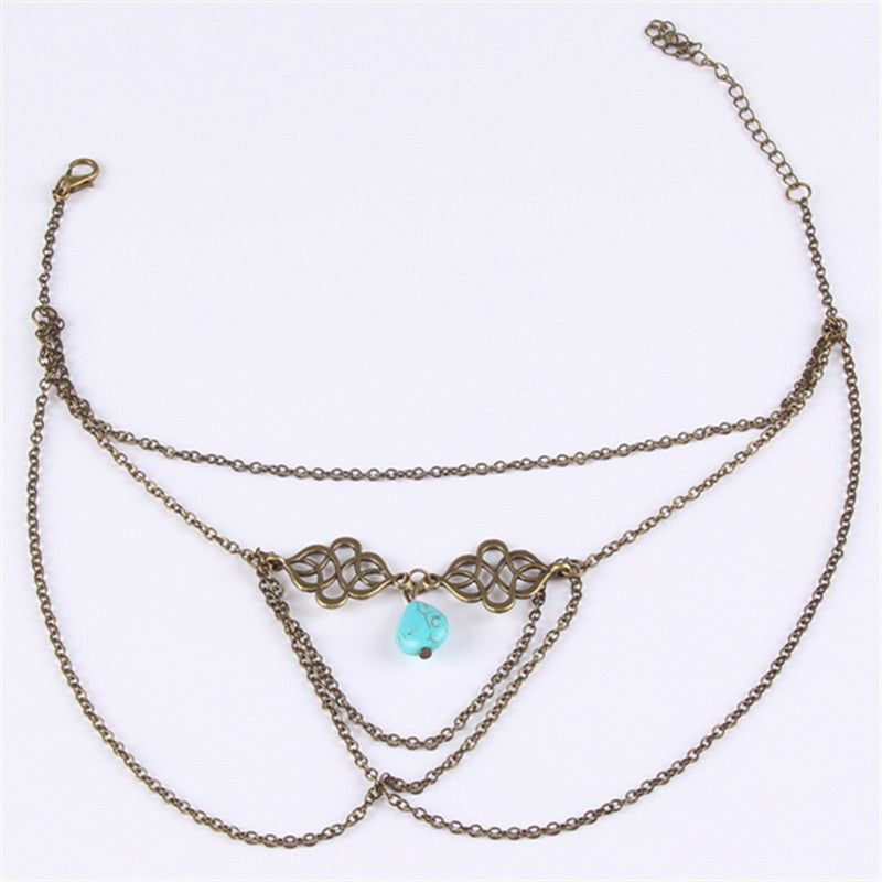 Women Tassel Upper Arm Bracelet Sexy Beach Water Drop Turquoise Pendant Armband