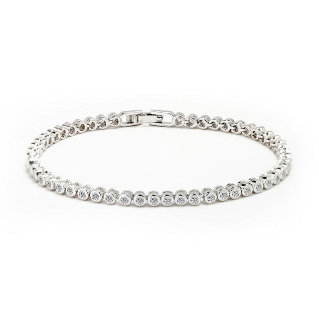 Women Tennis Bracelet Luxury Platinum Plated Round Clear CZ Tennis Bracelets & Bangles for Elegant Party Jewelry