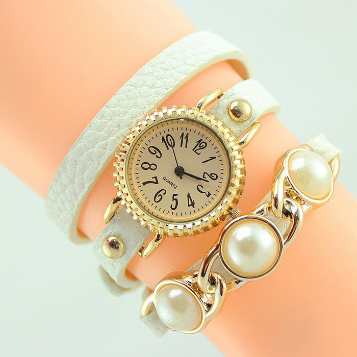 Women Trendy Wrap Leather Wristwatch New Fashion Casual Quartz Watch ladies Dress Watch with pearl High quality clock hours